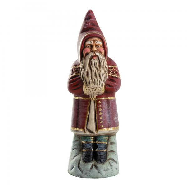 Santa Claus on base, red with gold accents, H = 6.25 inch