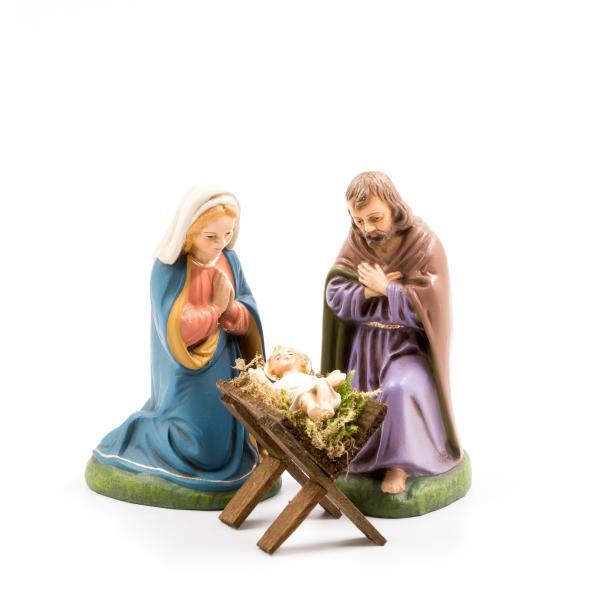 Heilige Familie mit Holzkrippe, 4 Teile, zu 11cm Figuren