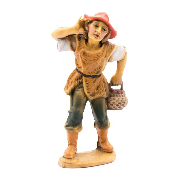 Listening shepherd with basket, to 4.75 in. figures (plastic material)