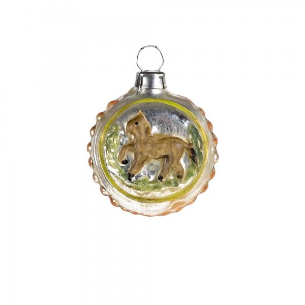 Glas Miniatur mit Pferd und orangen Noppen, patiniert