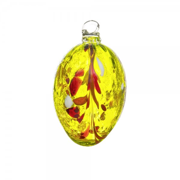 Handmade Easter egg (glass), lemon yellow, 10cm