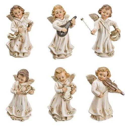 Engelkapelle (groß), 6 Figuren, Antikweiß, zu 14cm Krippenfiguren - Original MAROLIN® - Engel für Ihre Weihnachtskrippe - Made in Germany