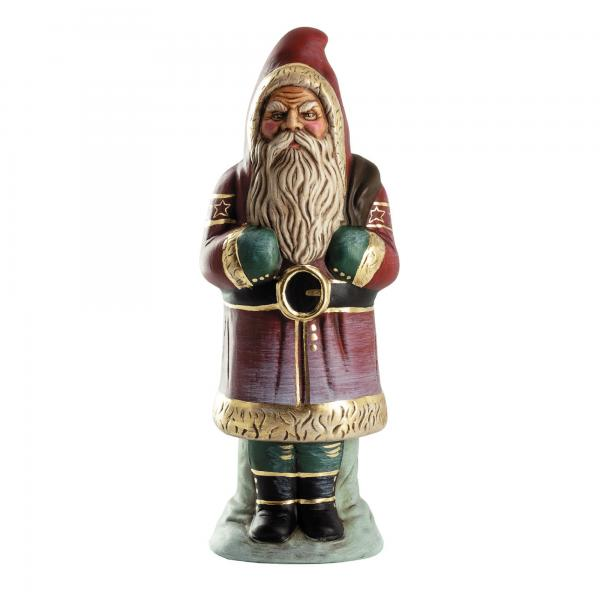 Santa with sack on base, red with gold accents, H = 13 inch
