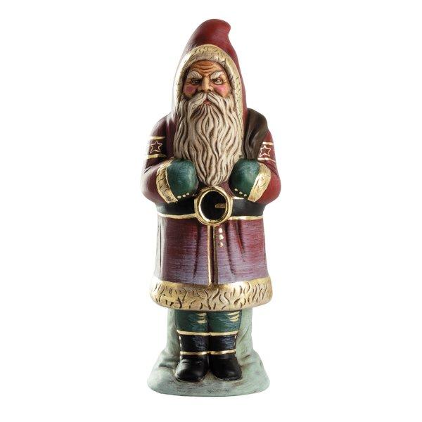 Weihnachtsmann mit Sack auf Sockel, rot mit Golddekor, H = 33cm