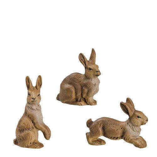 Hasengruppe, 3 Figuren, zu 11 - 12cm Figuren - ein Artikel der Original MAROLIN® - Tiere als Dekoration für Ihre Weihnachtskrippe oder Weihnachtspyramide - Made in Germany