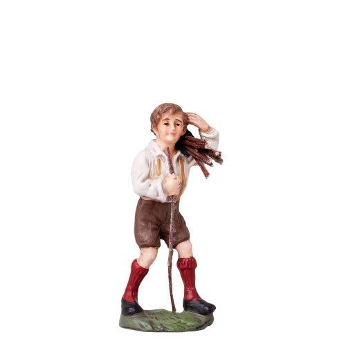 Junge mit Holzbündel, zu 10cm Figuren - Original MAROLIN® - Figur für Ihre Weihnachtspyramide oder Weihnachtskrippe  - Made in Germany