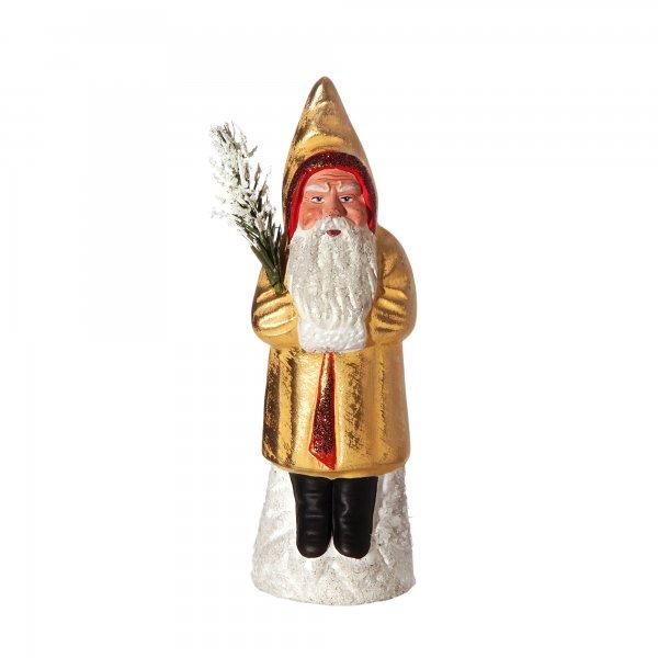 Weihnachtsmann auf Sockel, gelb/gold , H=16cm, befüllbar