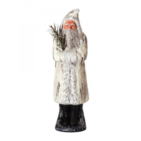 Weihnachtsmann mit Muff auf Sockel, weiß, H=35cm, befüllbar