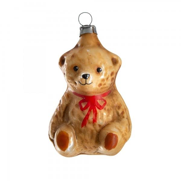 """Glasornament """"Kleiner sitzender Teddybär"""", patiniert"""