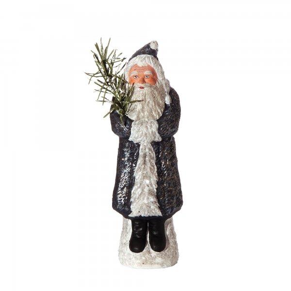 Weihnachtsmann mit Muff auf Sockel, nachtblau, H=24cm, befüllbar