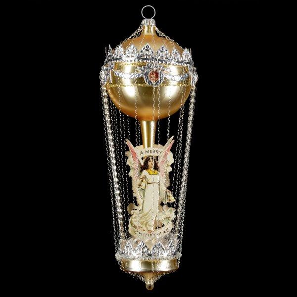 Ballon mit doppelter Perlenschnur und Engeloblaten, gold