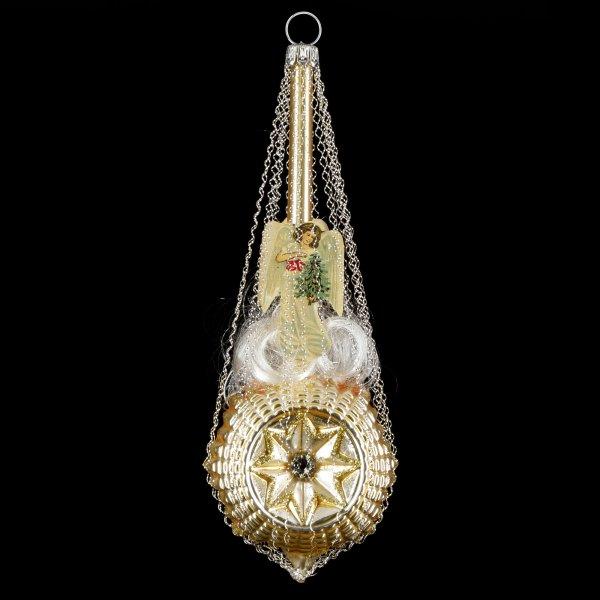Sternballon mit Engel-Oblaten und Swarowsky-Kristallen, gold