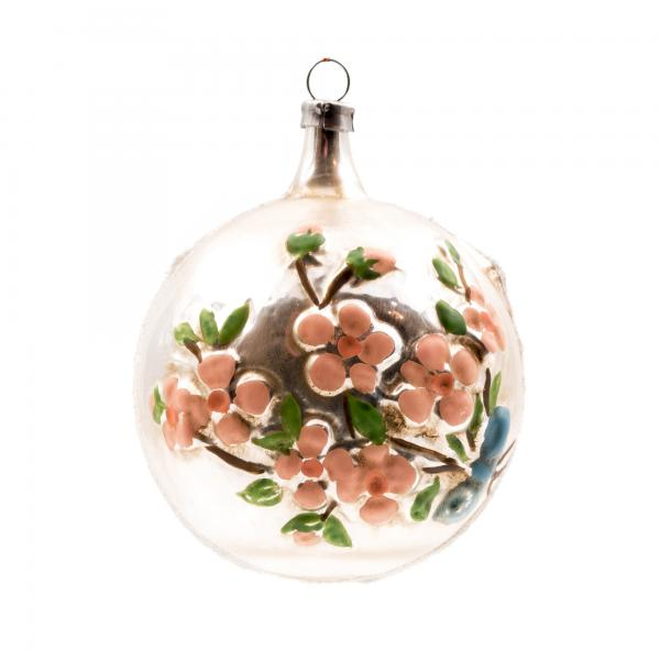 "Glass ornament ""Ball with flower branch"" with glitter"