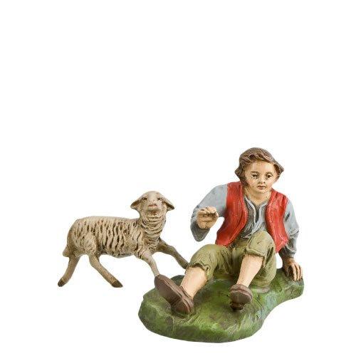 Hirte sitzend mit Schaf, zu 17cm Figuren