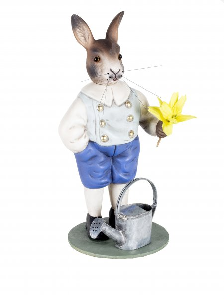 Easter hare with watering can and flower, Height = 20 cm