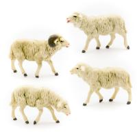 Flock of 4 sheep, to 4.75 in. figures (plastic material)