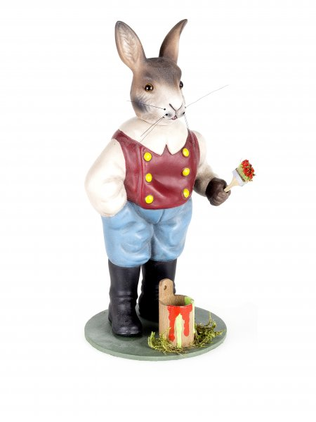 Easter hare with paint pot and brush, Height = 20 cm