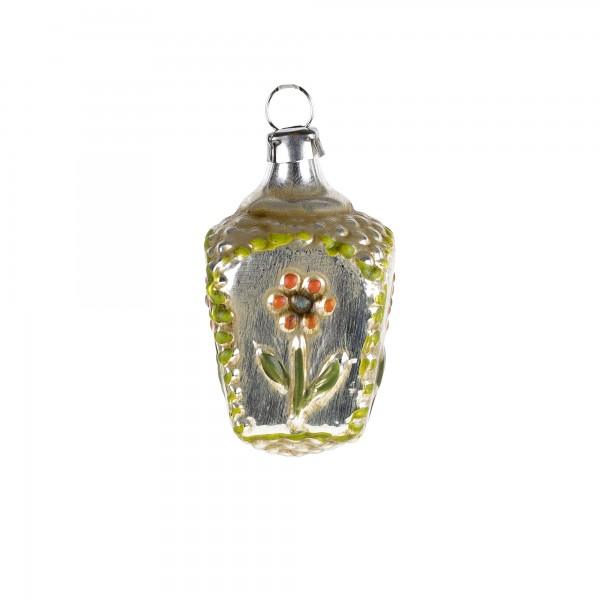 Glas Miniatur 'Korb mit Blume', orange, patiniert