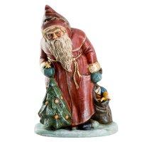 Nikolaus mit Christbaum und Sack, rot mit Golddekor, H = 33cm, in Holzkiste verpackt