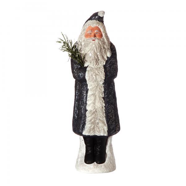 Weihnachtsmann mit Muff auf Sockel, nachtblau, H=35cm, befüllbar