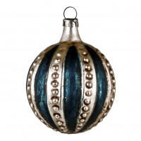 """Glass ornament """"Ball with blue stripes"""""""