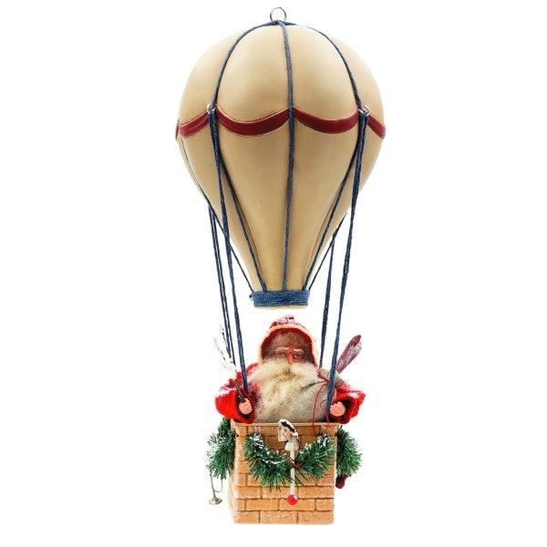 Weihnachtsmann im Ballon, H = 43cm in Holzkiste verpackt
