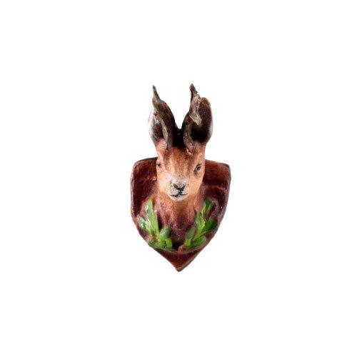 Jagdtrophäe Rehkopf mit Gehörn aus Zinn, zu 10 - 11cm Figuren - Original MAROLIN® - Zubehör für Ihre Weihnachtskrippe oder Dioramen - Made in Germany