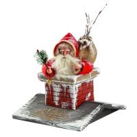 Santa Claus in the chimney (on wooden roof), top edge of Santa = 6.75 inch