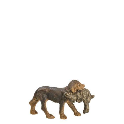Jagdhund mit Hasen, zu 9 - 10cm Figuren - ein Artikel der Original MAROLIN® - Tiere als Dekoration für Ihre Weihnachtskrippe oder Weihnachtspyramide - Made in Germany