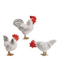 Hühnergruppe, weiß (Zinnbeine) 3 Teile, zu 11 - 12cm Figuren