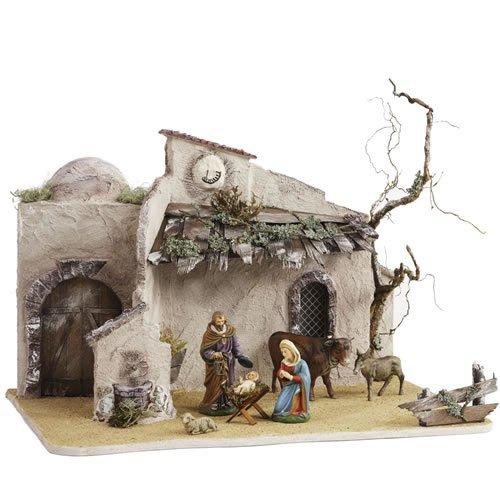 Orientalischer Stall mit Sonnenuhr für 8 - 10cm Krippenfiguren - Original MAROLIN® - Krippenstall für Ihre Weihnachtskrippe - Made in Germany