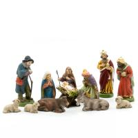 Nativity set, 12 pcs., to 2.5 in. figures with infant Jesus lying in wooden crib