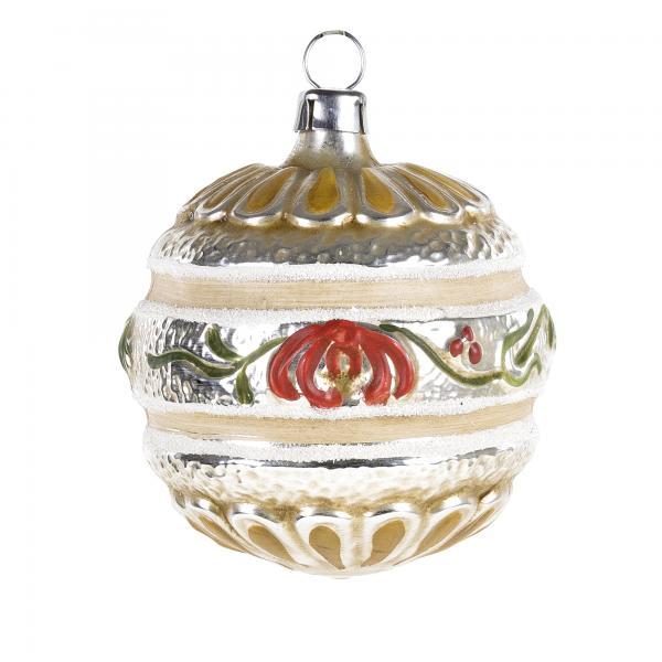 Glas Kugel mit Blütenband patiniert