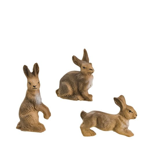 Hasengruppe, 3 Figuren, zu 9 - 10cm Figuren - ein Artikel der Original MAROLIN® - Tiere als Dekoration für Ihre Weihnachtskrippe oder Weihnachtspyramide - Made in Germany