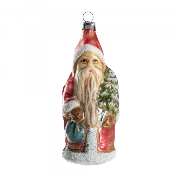 "Glass ornament ""Little Santa with backpack and tree"""