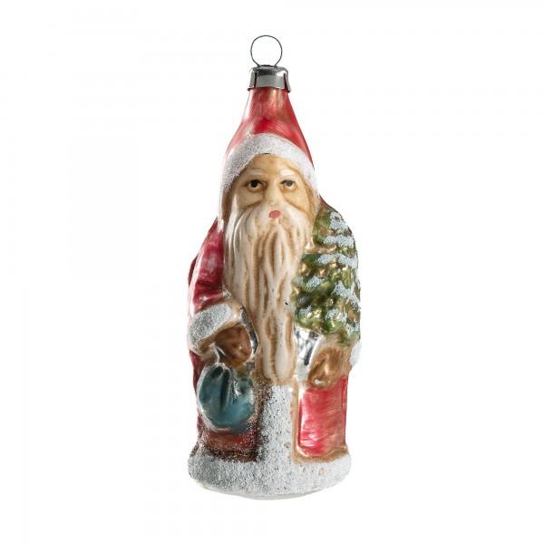 """Glasornament """"Kleiner Weihnachtsmann mit Rucksack und Baum"""", patiniert"""