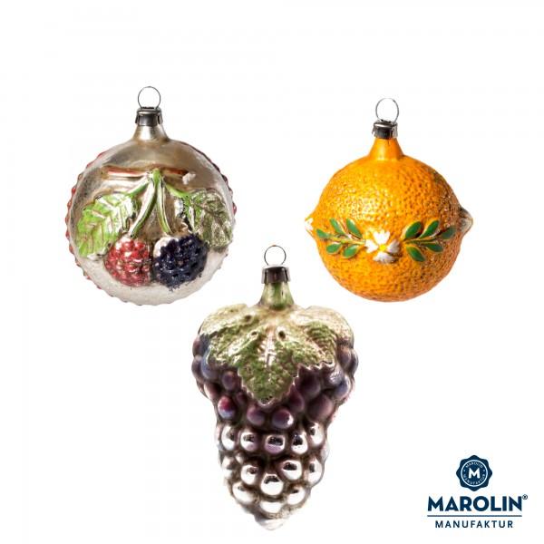 """Set of 3 glass ornaments """"Fruit basket"""""""