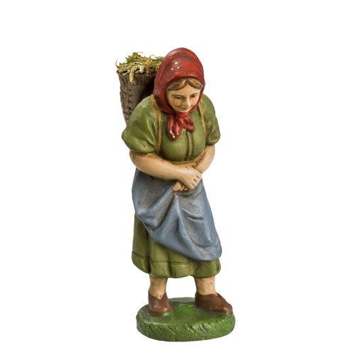 Frau mit Graskorb, zu 10cm Figuren - Original MAROLIN® - Figur für Ihre Weihnachtspyramide oder Weihnachtskrippe - Made in Germany