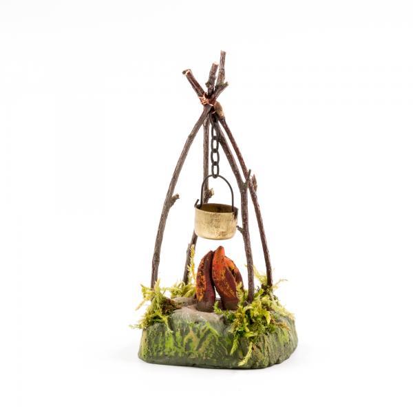 Hirtenfeuer mit Kessel für 9 - 10cm Krippenfiguren - Original MAROLIN® - Krippenzubehör für Ihre Weihnachtskrippe - Made in Germany