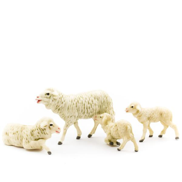 Ewe with 3 lambs, to 4.75 in. figures (plastic material)