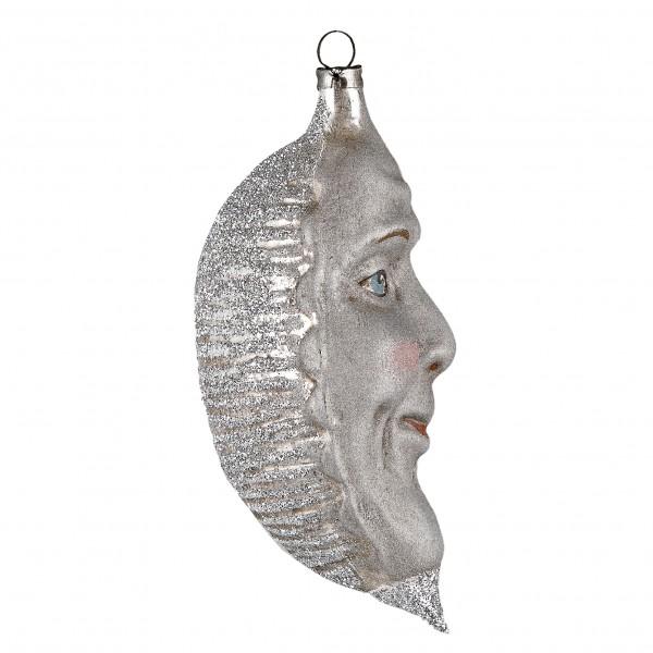 Glas 'Silberne Mondsichel' mit Silberglimmer, patiniert