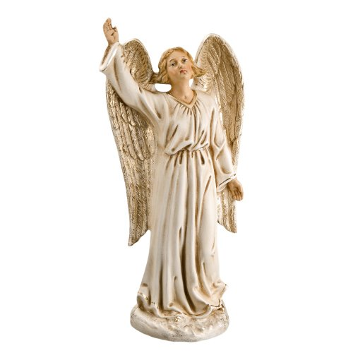 Proclaiming Angel, antique white, to 8.5 in. figures