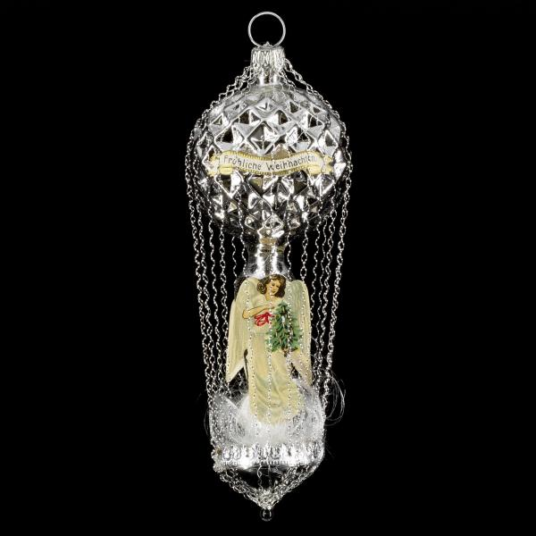 Waffle balloon with angel-oblates, silver