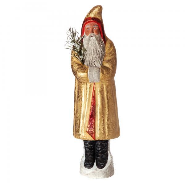 Weihnachtsmann mit Zipfelmütze, Gelb/Gold, H=37cm, befüllbar