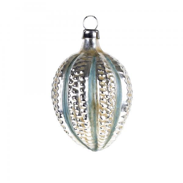 Glas Ornament Ei mit Noppen und blauen Streifen, patiniert