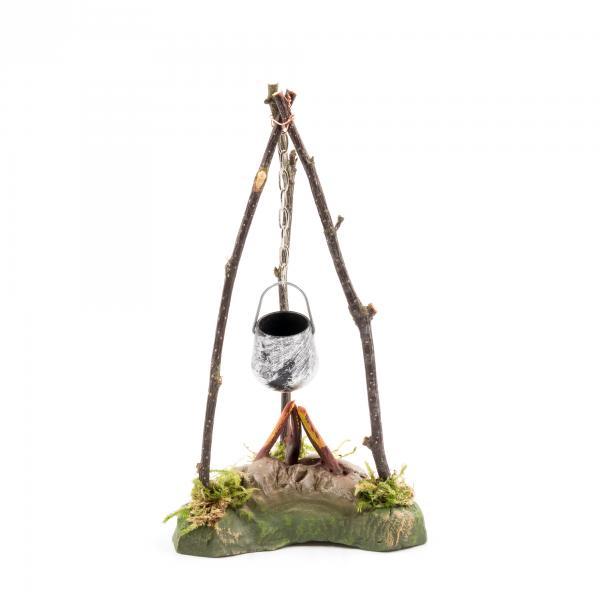 Hirtenfeuer mit Kessel für 11 - 12cm Krippenfiguren - Original MAROLIN® - Krippenzubehör für Ihre Weihnachtskrippe - Made in Germany