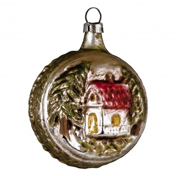 Glas Kugel mit Haus braune Rückseitepatiniert