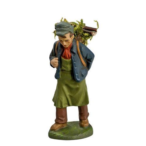 Mann mit Holzkorb, zu 10cm Figuren - Original MAROLIN® - Figur für Ihre Weihnachtspyramide oder Weihnachtskrippe  - Made in Germany