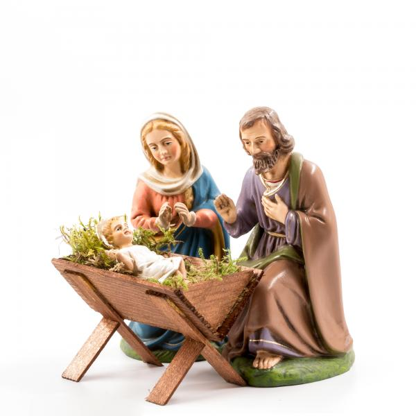 Heilige Familie mit Holzkrippe, 4 Teile, zu 17cm Figuren