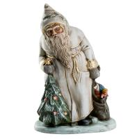 Santa Claus with Christmas tree and sack, white with gold accents, H = 13inch, in wooden box